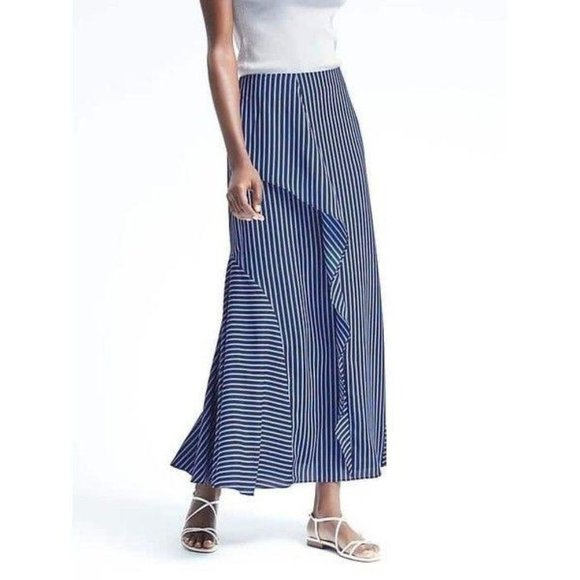 Banana Republic Skirt Blue Striped Maxi Ruffle